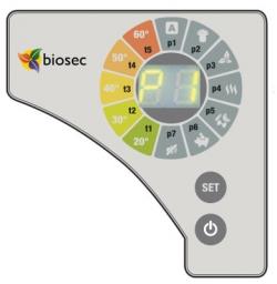 Biosec aszalógép kijelző
