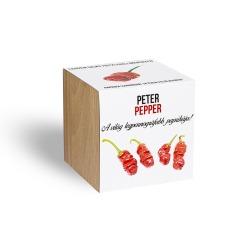 Peter Pepper, a pajzán chili paprika - ajándék növény fa kaspóval