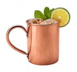 Sima felületű korsó vörösrézből, belülről cinezett, így savas italokat is lehet belőle fogasztani