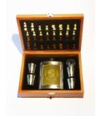 Fém laposüveg poharakkal, sakk-készlettel